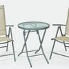 2 személyes fém vázas szett dönthető háttámlás székkel