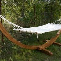 Függőágy teakfa állvány fehér merev textil fekvőrész -