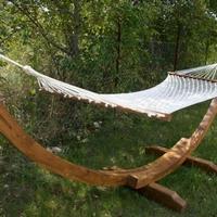Függőágy teakfa állvány fehér hálós fekvőrész -