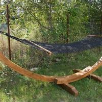 Függőágy teakfa állvány fekete hálós fekvőrész -