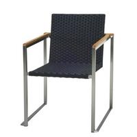 Minimal kerti szék nemesacél fekete polyrattan fonattal -