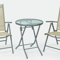 2 személyes fém vázas szett dönthető háttámlás székkel -