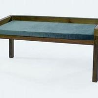 Design pad teakfa szürke párnával 120cm -