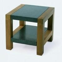 Design dohányzóasztal teakfa-gránit 45cm -