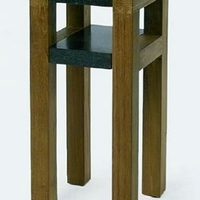 Design virágállvány teakfa-gránit -