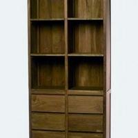 Design könyvszekrény teakfa 6 fiókkal -