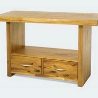 Design konzolasztal 2 fiókkal olajozott akác 120cm -