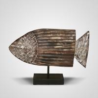 Szobor fa hal nagy 2. 35 cm -