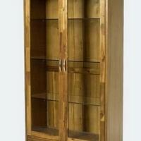 Design üveges szekrény olajozott akác -