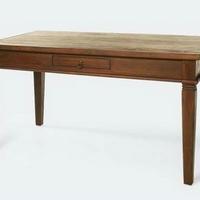 Gyarmat asztal 6 és 8 személyes fiókos sötét és világos teakfa -