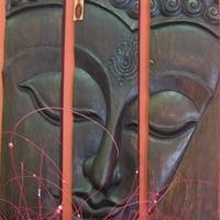 Fa Buddha kép 3 darabból -