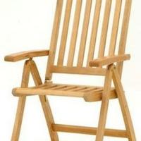 Fehér teak szék natúr vagy teak szín összecsukható 5 pozíciós háttámlával -