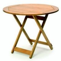 Fehér teak asztal natúr vagy teak szín összecsukható kör 120cm -