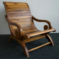 Lazy chair teakfa natúr és vörösbarna szín -
