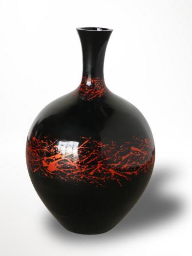 Váza fekete piros OUTLET